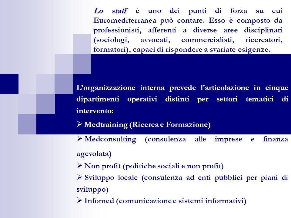 Lorganizzazione interna prevede larticolazione in cinque dipartimenti operativi distinti per settori tematici di intervento: Medtraining (Ricerca e Fo