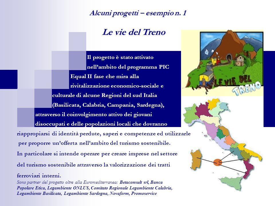 Le vie del Treno Alcuni progetti – esempio n. 1 Il progetto è stato attivato nellambito del programma PIC Equal II fase che mira alla rivitalizzazione
