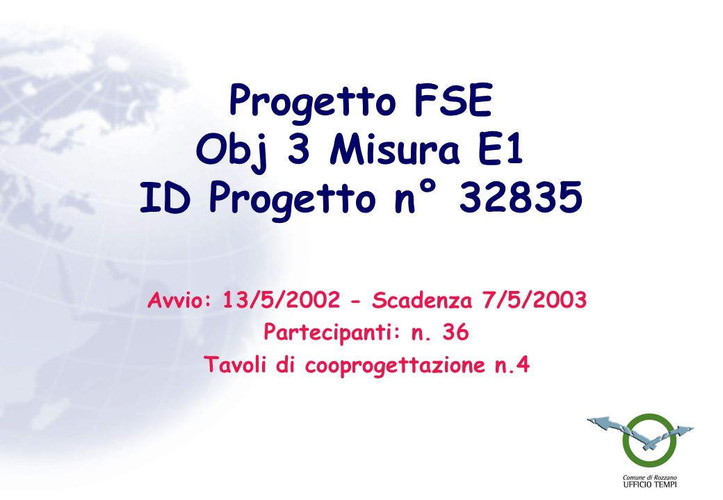 Progetto FSE Obj 3 Misura E1 ID Progetto n° 32835 Avvio: 13/5/2002 - Scadenza 7/5/2003 Partecipanti: n. 36 Tavoli di cooprogettazione n.4