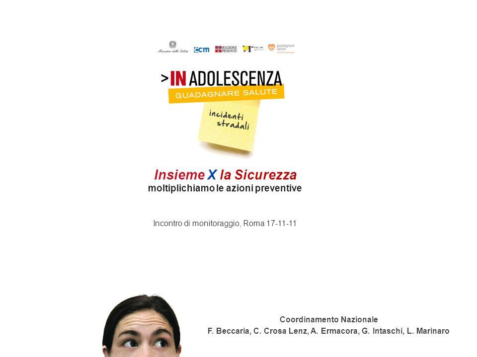 Insieme X la Sicurezza moltiplichiamo le azioni preventive Incontro di monitoraggio, Roma 17-11-11 Coordinamento Nazionale F. Beccaria, C. Crosa Lenz,