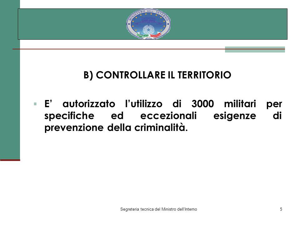 Segreteria tecnica del Ministro dell Interno5 B) CONTROLLARE IL TERRITORIO E autorizzato lutilizzo di 3000 militari per specifiche ed eccezionali esigenze di prevenzione della criminalità.