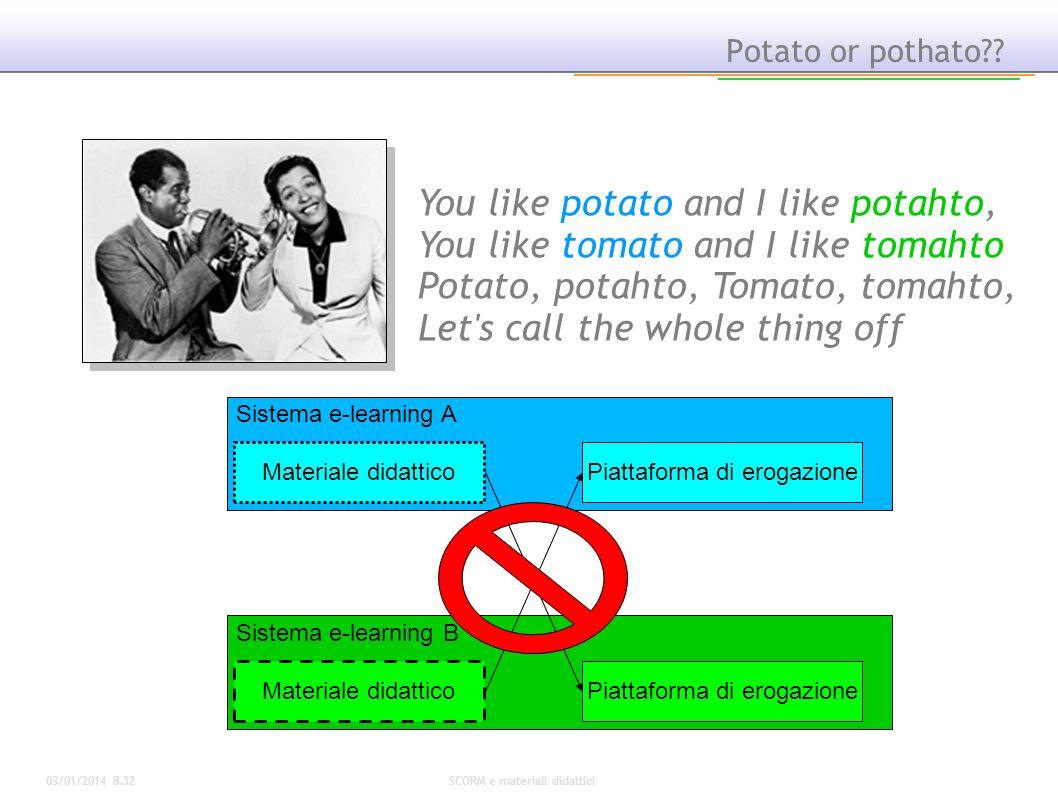03/01/2014 8.34SCORM e materiali didattici Potato or pothato?? You like potato and I like potahto, You like tomato and I like tomahto Potato, potahto,