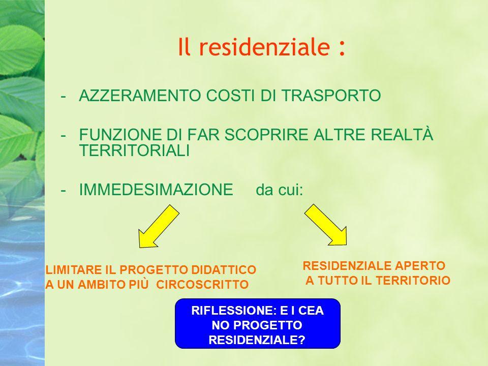 Il residenziale : -AZZERAMENTO COSTI DI TRASPORTO -FUNZIONE DI FAR SCOPRIRE ALTRE REALTÀ TERRITORIALI -IMMEDESIMAZIONE da cui: LIMITARE IL PROGETTO DIDATTICO A UN AMBITO PIÙ CIRCOSCRITTO RESIDENZIALE APERTO A TUTTO IL TERRITORIO RIFLESSIONE: E I CEA NO PROGETTO RESIDENZIALE