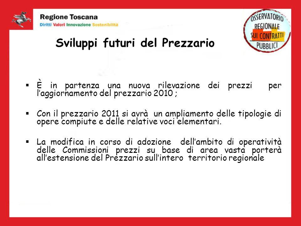 Sviluppi futuri del Prezzario È in partenza una nuova rilevazione dei prezzi per laggiornamento del prezzario 2010 ; Con il prezzario 2011 si avrà un
