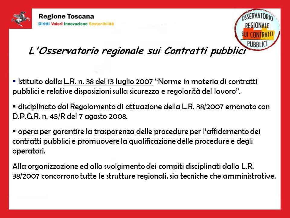 L'Osservatorio regionale sui Contratti pubblici Istituito dalla L.R. n. 38 del 13 luglio 2007 Norme in materia di contratti pubblici e relative dispos