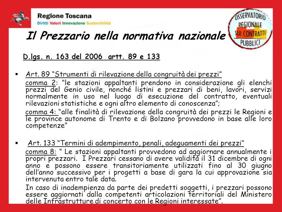 Il Prezzario nella normativa nazionale D.lgs. n. 163 del 2006 artt. 89 e 133 Art. 89 Strumenti di rilevazione della congruità dei prezzi comma 2: le s