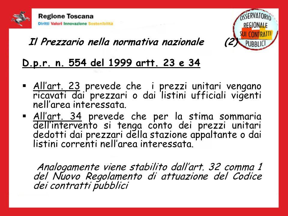 Il Prezzario nella normativa nazionale (2) D.p.r. n. 554 del 1999 artt. 23 e 34 Allart. 23 prevede che i prezzi unitari vengano ricavati dai prezzari