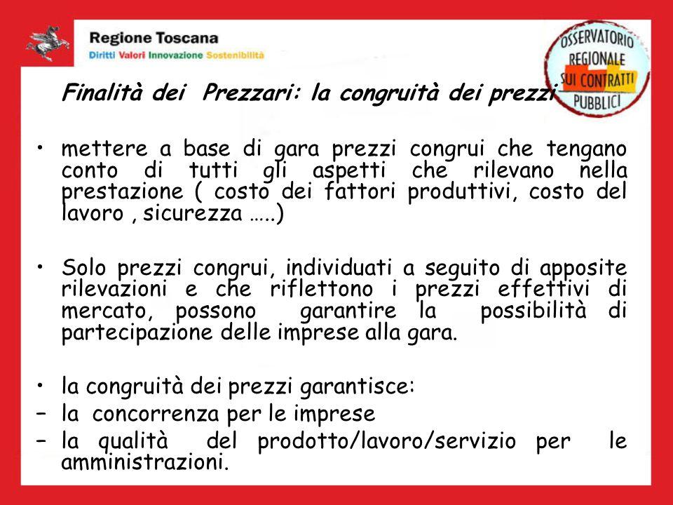 Il Prezzario nella normativa regionale La Legge Regionale n.