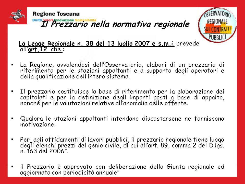 Il Prezzario nella normativa regionale La Legge Regionale n. 38 del 13 luglio 2007 e s.m.i. prevede allart.12 che : La Regione, avvalendosi dellOsserv