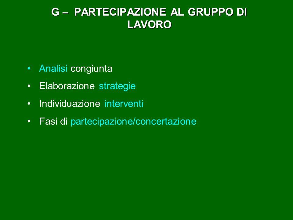 G – PARTECIPAZIONE AL GRUPPO DI LAVORO Analisi congiunta Elaborazione strategie Individuazione interventi Fasi di partecipazione/concertazione