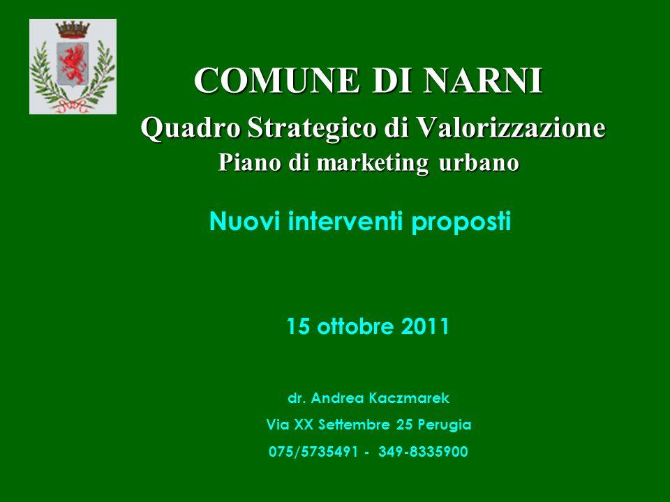 COMUNE DI NARNI Quadro Strategico di Valorizzazione Piano di marketing urbano 15 ottobre 2011 dr.