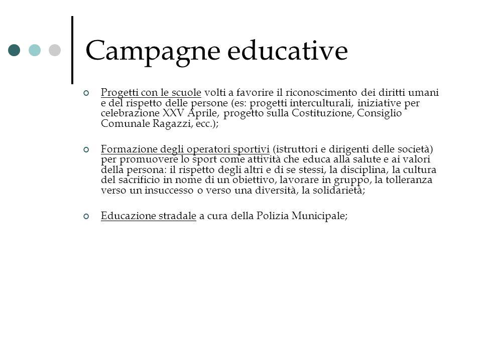 Campagne educative Progetti con le scuole volti a favorire il riconoscimento dei diritti umani e del rispetto delle persone (es: progetti intercultura