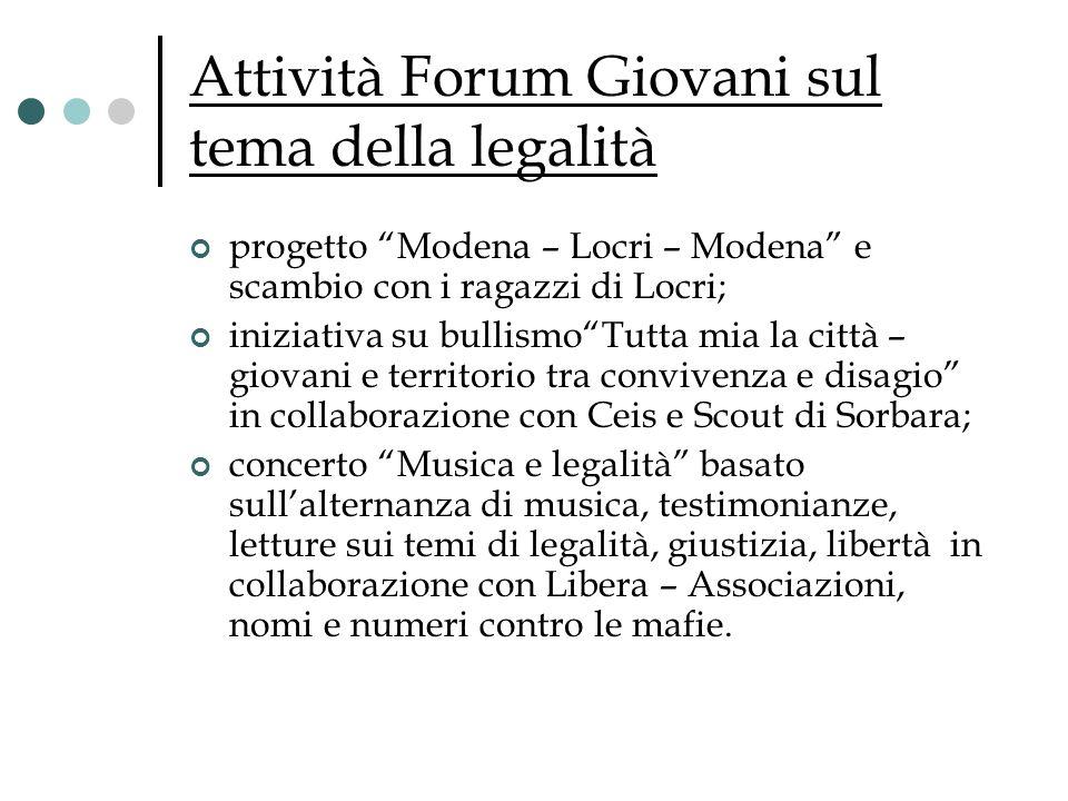 Attività Forum Giovani sul tema della legalità progetto Modena – Locri – Modena e scambio con i ragazzi di Locri; iniziativa su bullismoTutta mia la c