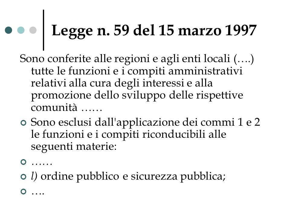 Legge n. 59 del 15 marzo 1997 Sono conferite alle regioni e agli enti locali (….) tutte le funzioni e i compiti amministrativi relativi alla cura degl