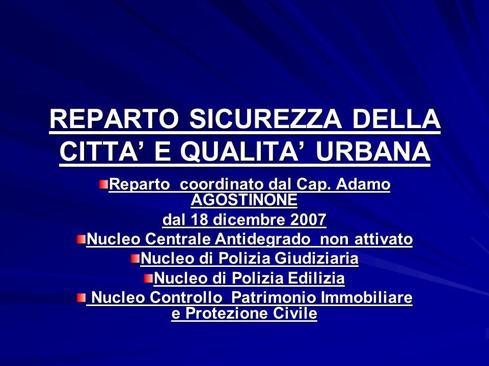 REPARTO SICUREZZA DELLA CITTA E QUALITA URBANA Reparto coordinato dal Cap. Adamo AGOSTINONE dal 18 dicembre 2007 Nucleo Centrale Antidegrado non attiv