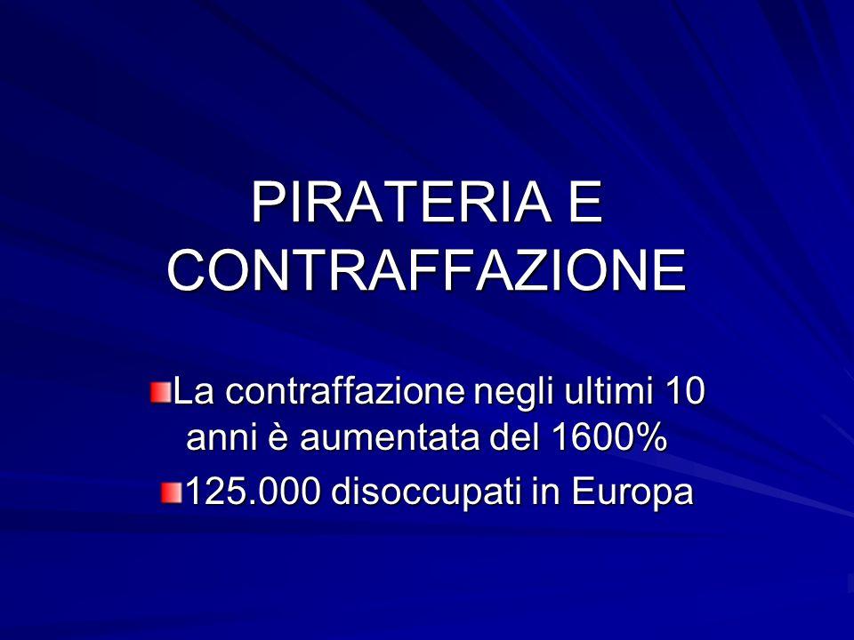PIRATERIA E CONTRAFFAZIONE La contraffazione negli ultimi 10 anni è aumentata del 1600% 125.000 disoccupati in Europa