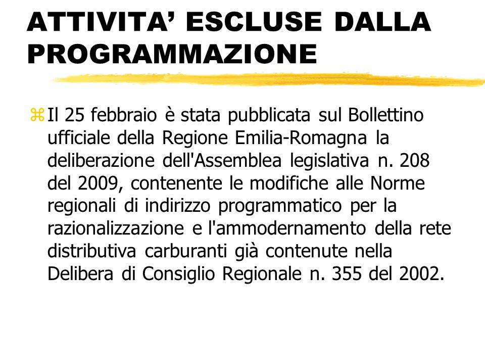 ATTIVITA ESCLUSE DALLA PROGRAMMAZIONE zIl 25 febbraio è stata pubblicata sul Bollettino ufficiale della Regione Emilia-Romagna la deliberazione dell'A