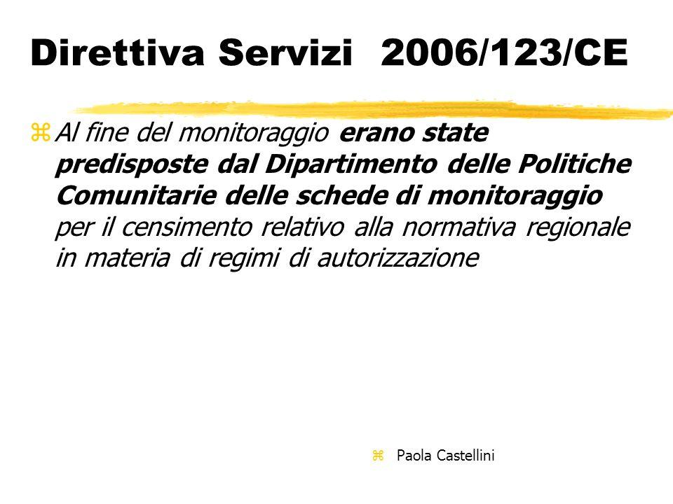Direttiva Servizi 2006/123/CE zAl fine del monitoraggio erano state predisposte dal Dipartimento delle Politiche Comunitarie delle schede di monitorag