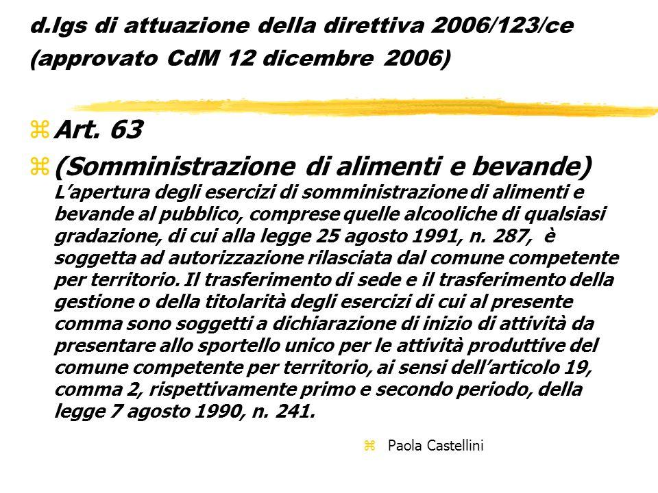 d.lgs di attuazione della direttiva 2006/123/ce (approvato CdM 12 dicembre 2006) zArt. 63 z(Somministrazione di alimenti e bevande) Lapertura degli es