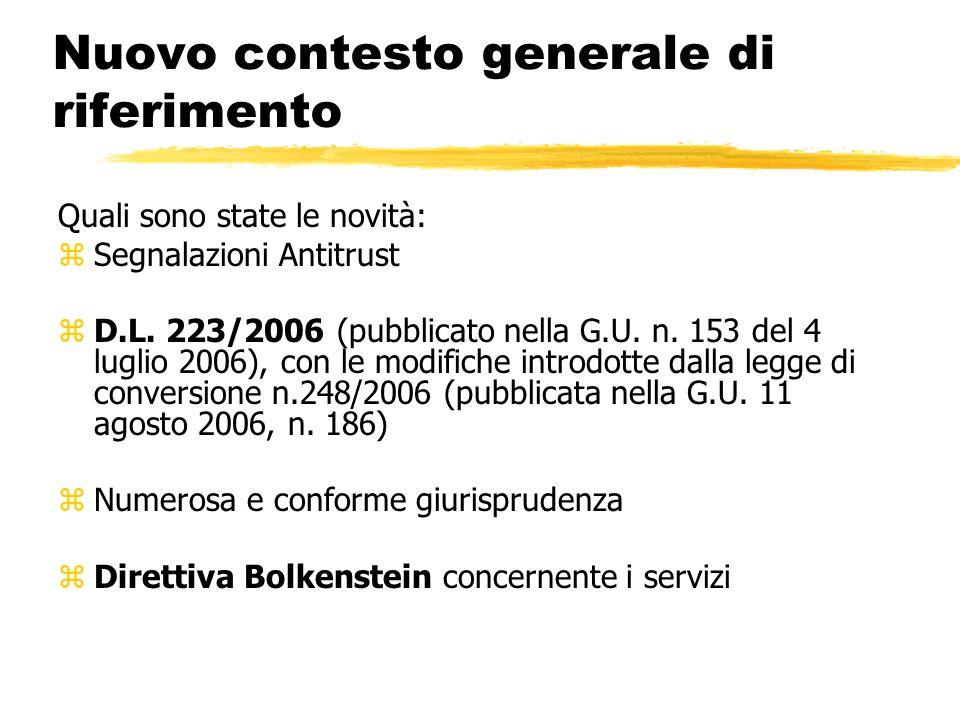 Nuovo contesto generale di riferimento Quali sono state le novità: zSegnalazioni Antitrust zD.L. 223/2006 (pubblicato nella G.U. n. 153 del 4 luglio 2
