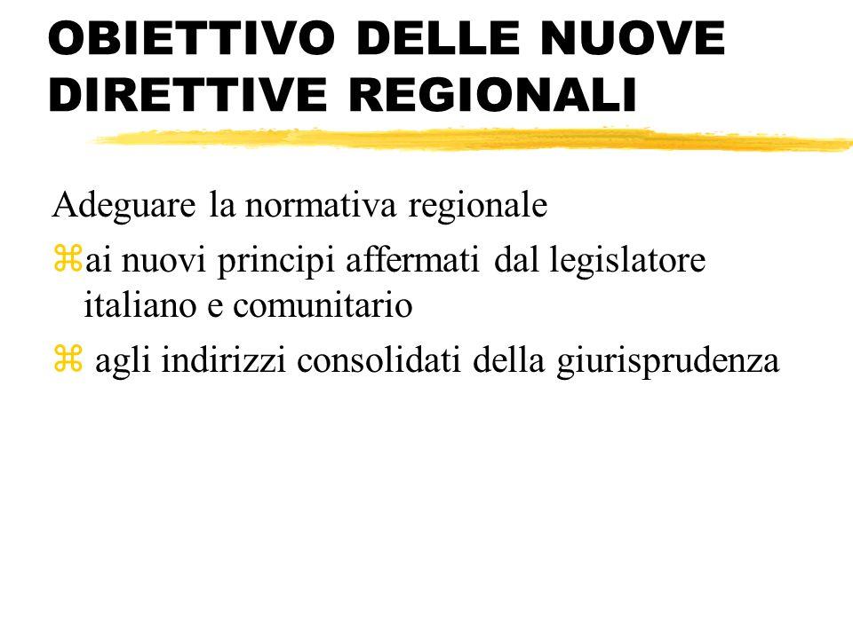 OBIETTIVO DELLE NUOVE DIRETTIVE REGIONALI Adeguare la normativa regionale zai nuovi principi affermati dal legislatore italiano e comunitario z agli i