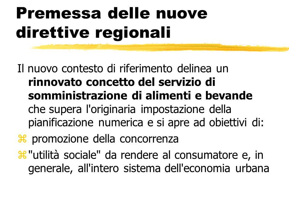 Premessa delle nuove direttive regionali Il nuovo contesto di riferimento delinea un rinnovato concetto del servizio di somministrazione di alimenti e
