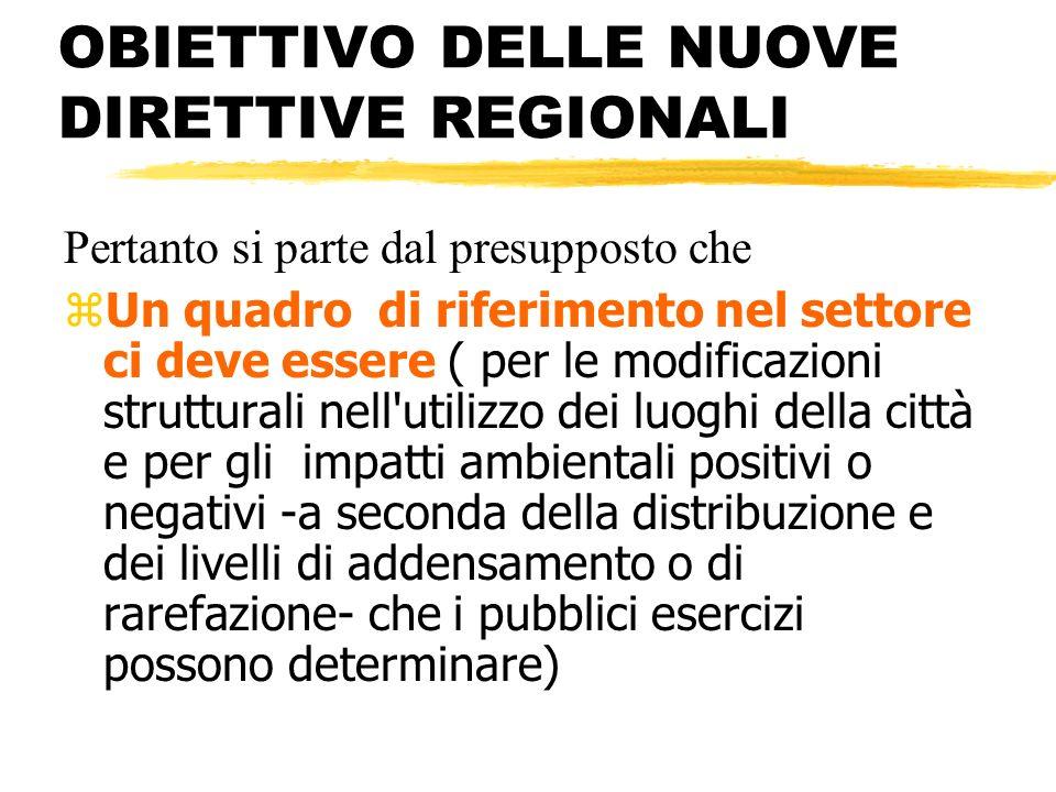 OBIETTIVO DELLE NUOVE DIRETTIVE REGIONALI Pertanto si parte dal presupposto che zUn quadro di riferimento nel settore ci deve essere ( per le modifica
