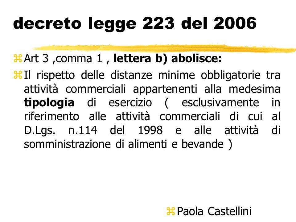 decreto legge 223 del 2006 zArt 3,comma 1, lettera b) abolisce: zIl rispetto delle distanze minime obbligatorie tra attività commerciali appartenenti