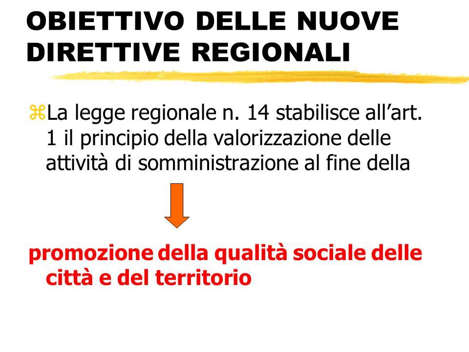 OBIETTIVO DELLE NUOVE DIRETTIVE REGIONALI zLa legge regionale n. 14 stabilisce allart. 1 il principio della valorizzazione delle attività di somminist