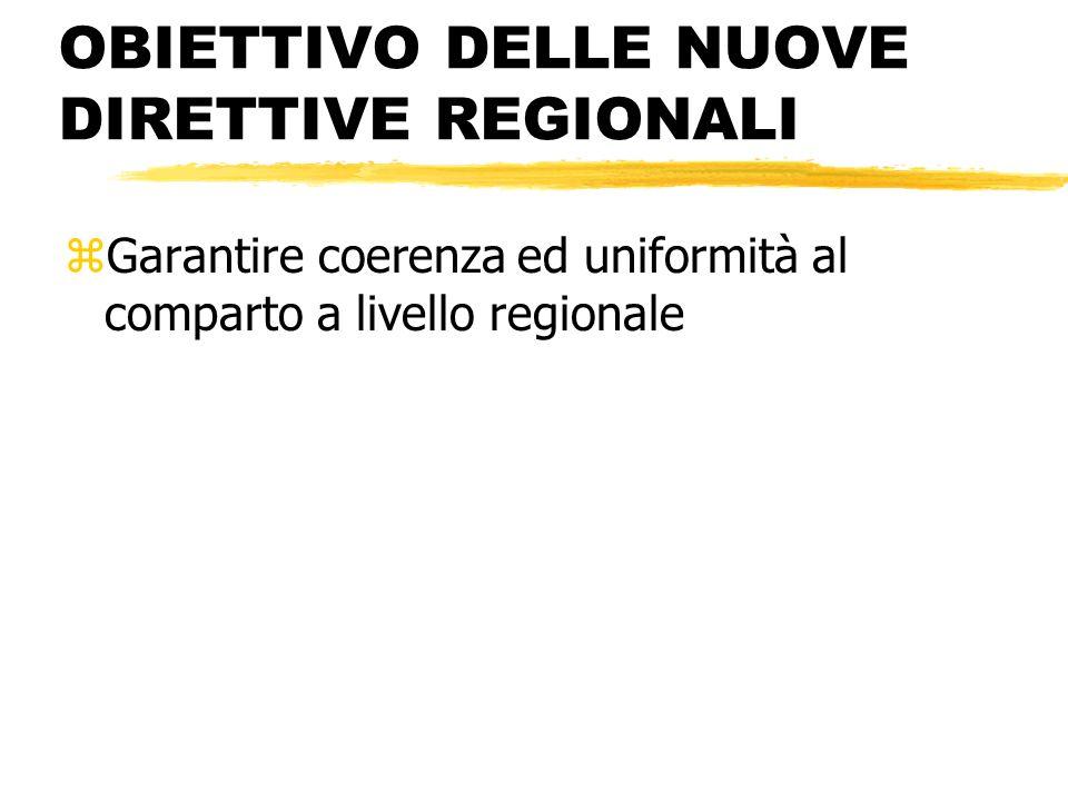 OBIETTIVO DELLE NUOVE DIRETTIVE REGIONALI zGarantire coerenza ed uniformità al comparto a livello regionale
