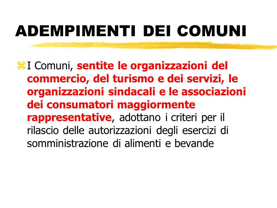 ADEMPIMENTI DEI COMUNI zI Comuni, sentite le organizzazioni del commercio, del turismo e dei servizi, le organizzazioni sindacali e le associazioni de