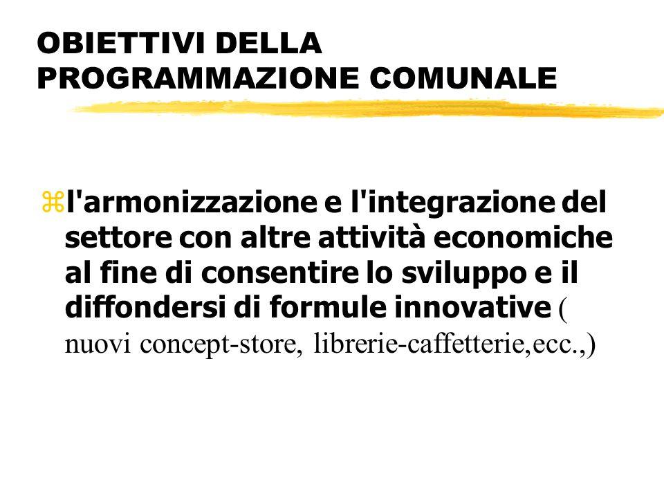 OBIETTIVI DELLA PROGRAMMAZIONE COMUNALE l'armonizzazione e l'integrazione del settore con altre attività economiche al fine di consentire lo sviluppo