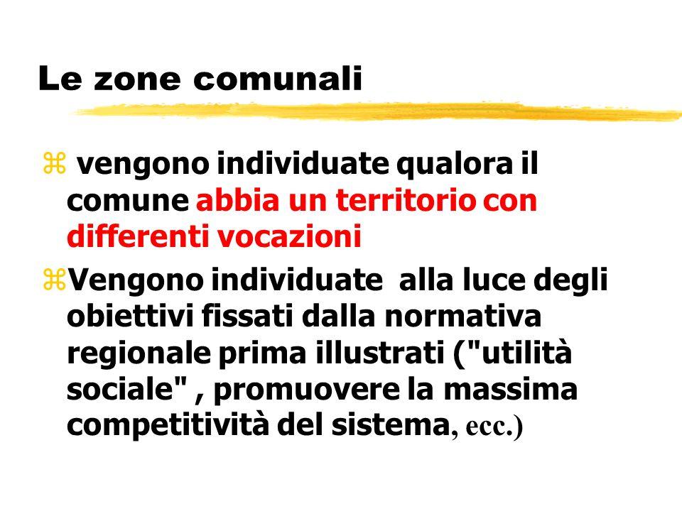 Le zone comunali z vengono individuate qualora il comune abbia un territorio con differenti vocazioni Vengono individuate alla luce degli obiettivi fi