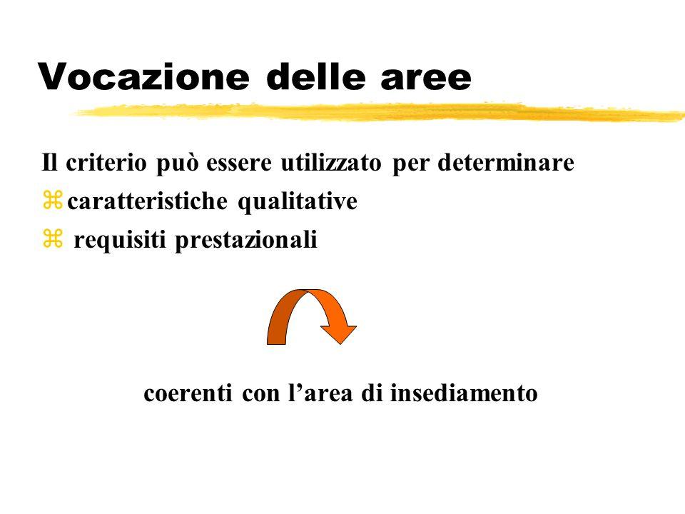 Vocazione delle aree Il criterio può essere utilizzato per determinare zcaratteristiche qualitative z requisiti prestazionali coerenti con larea di in