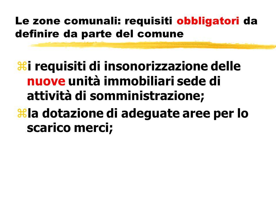 Le zone comunali: requisiti obbligatori da definire da parte del comune zi requisiti di insonorizzazione delle nuove unità immobiliari sede di attivit