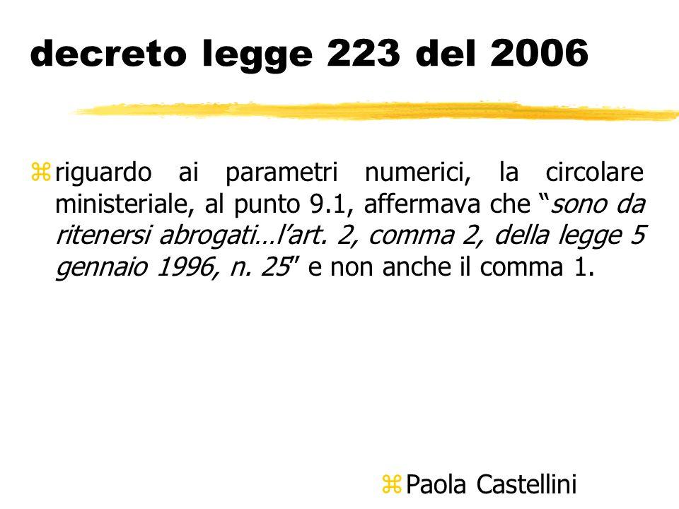 decreto legge 223 del 2006 zriguardo ai parametri numerici, la circolare ministeriale, al punto 9.1, affermava che sono da ritenersi abrogati…lart. 2,