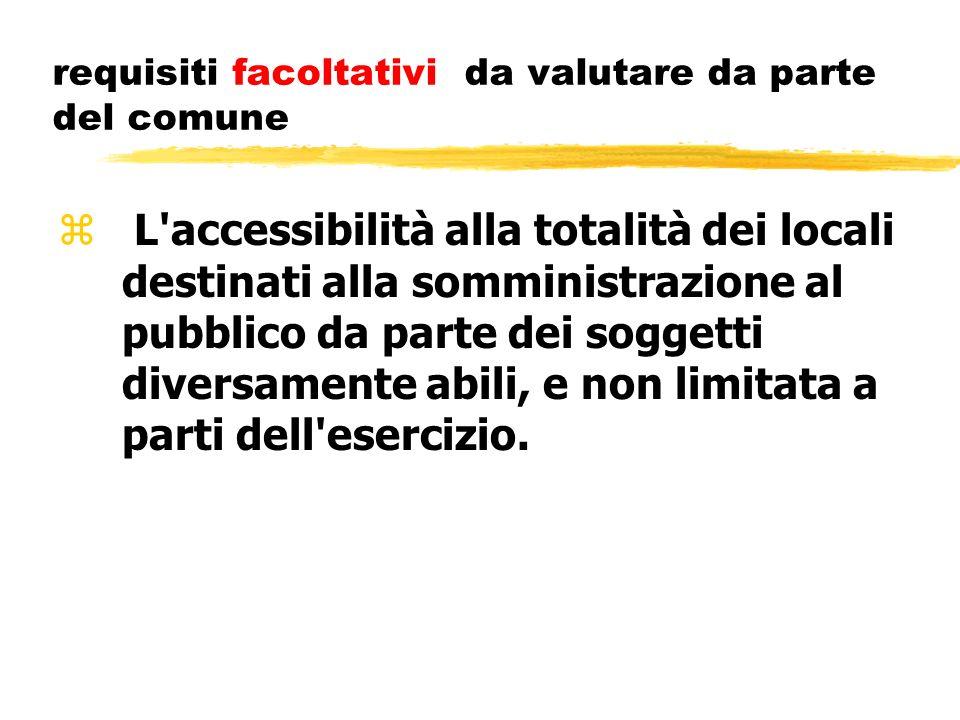 requisiti facoltativi da valutare da parte del comune z L'accessibilità alla totalità dei locali destinati alla somministrazione al pubblico da parte