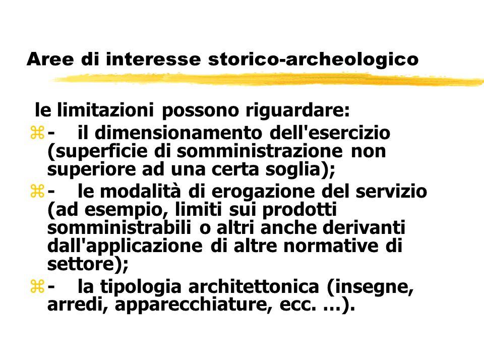 Aree di interesse storico-archeologico le limitazioni possono riguardare: z-il dimensionamento dell'esercizio (superficie di somministrazione non supe