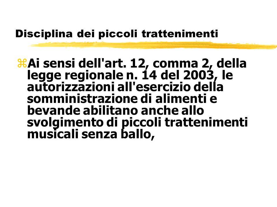 Disciplina dei piccoli trattenimenti zAi sensi dell'art. 12, comma 2, della legge regionale n. 14 del 2003, le autorizzazioni all'esercizio della somm