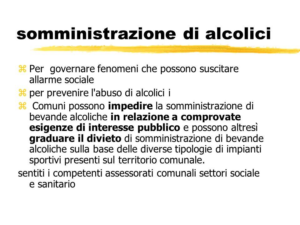 somministrazione di alcolici zPer governare fenomeni che possono suscitare allarme sociale zper prevenire l'abuso di alcolici i z Comuni possono imped