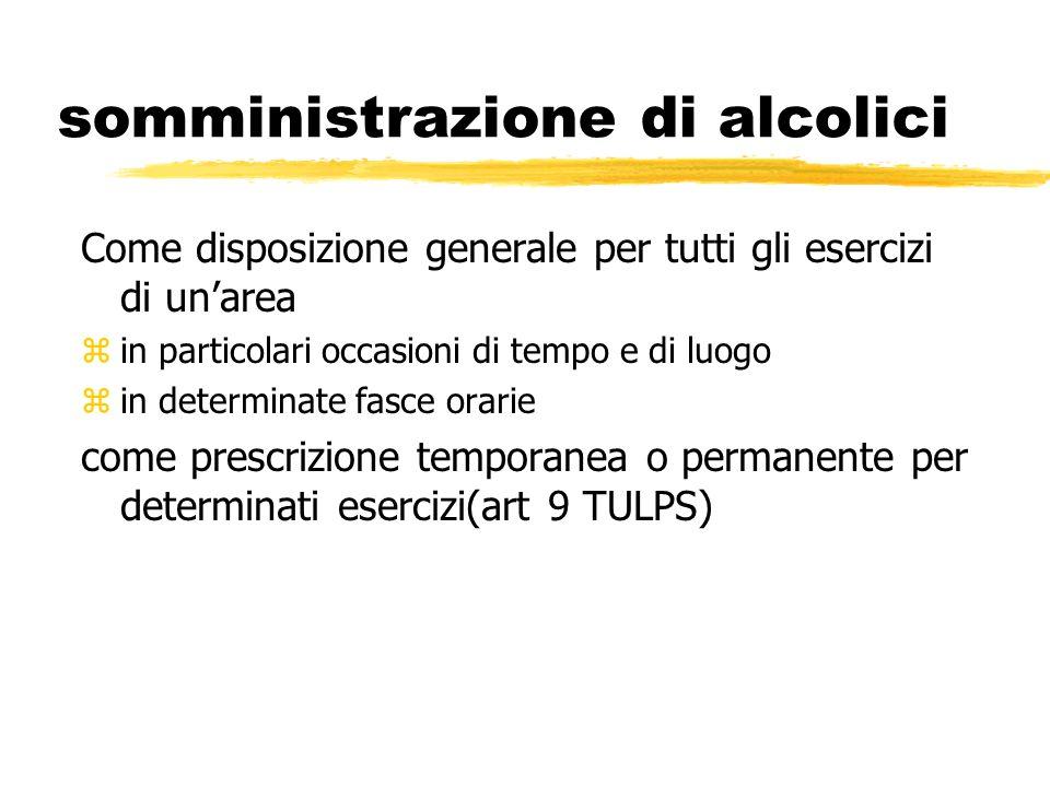 somministrazione di alcolici Come disposizione generale per tutti gli esercizi di unarea z in particolari occasioni di tempo e di luogo z in determina