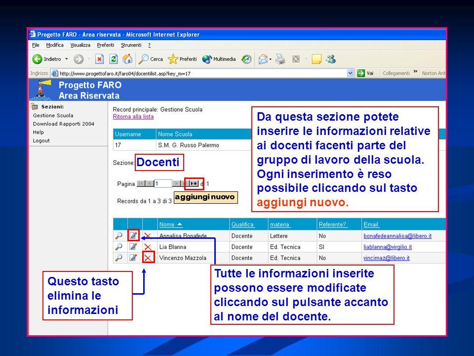Docenti Tutte le informazioni inserite possono essere modificate cliccando sul pulsante accanto al nome del docente.