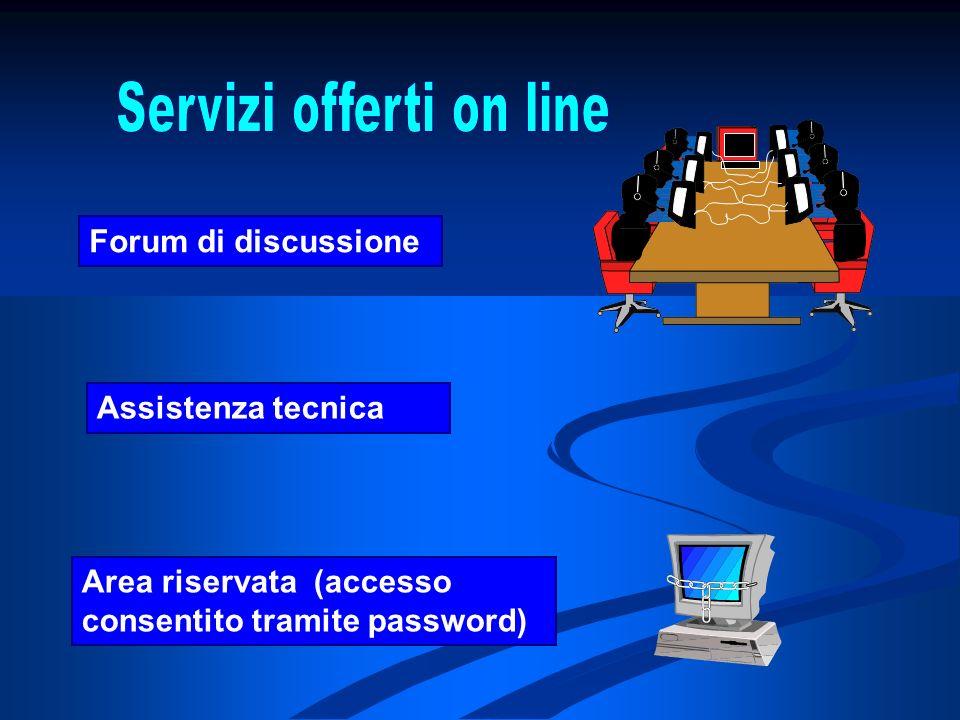 Area riservata (accesso consentito tramite password) Assistenza tecnica Forum di discussione