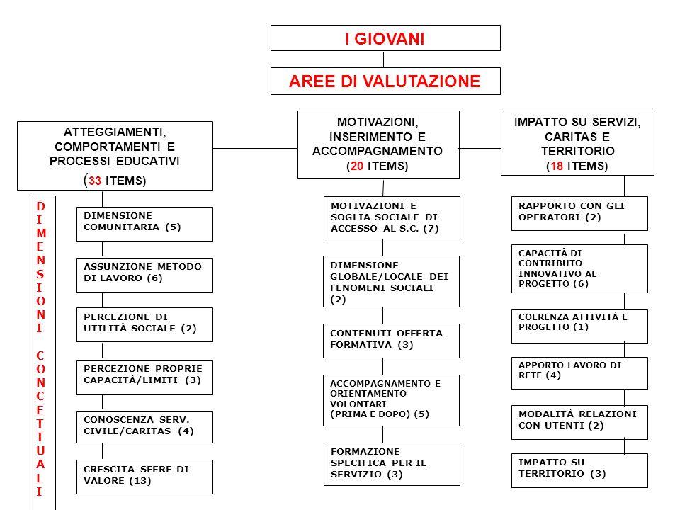 ATTEGGIAMENTI, COMPORTAMENTI E PROCESSI EDUCATIVI ( 33 ITEMS) MOTIVAZIONI, INSERIMENTO E ACCOMPAGNAMENTO (20 ITEMS) IMPATTO SU SERVIZI, CARITAS E TERRITORIO (18 ITEMS) ASSUNZIONE METODO DI LAVORO (6) DIMENSIONE COMUNITARIA (5) PERCEZIONE DI UTILITÀ SOCIALE (2) FORMAZIONE SPECIFICA PER IL SERVIZIO (3) DIMENSIONE GLOBALE/LOCALE DEI FENOMENI SOCIALI (2) DIMENSIONICONCETTUALIDIMENSIONICONCETTUALI AREE DI VALUTAZIONE I GIOVANI PERCEZIONE PROPRIE CAPACITÀ/LIMITI (3) CONOSCENZA SERV.