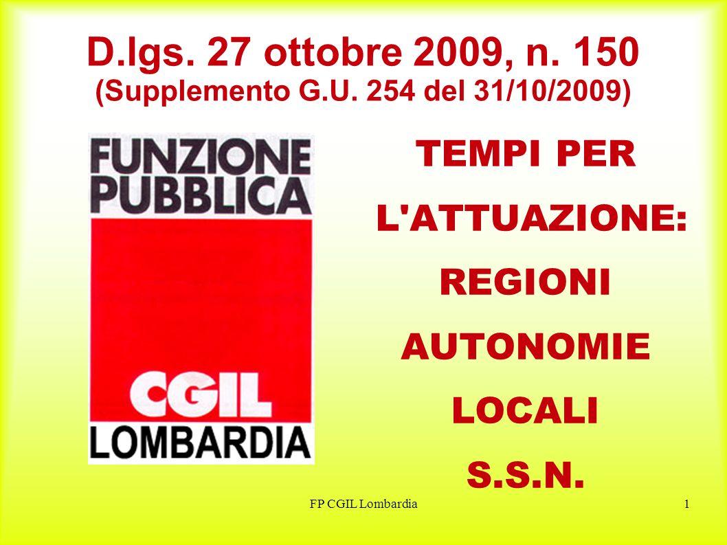 FP CGIL Lombardia2 Commissione per la valutazione, la trasparenza e lintegrità delle amministrazioni pubbliche ENTRO 30 GIORNI DALLA ENTRATA IN VIGORE DEL DECRETO E COSTITUITA LA COMMISSIONE DI CUI ALLART.