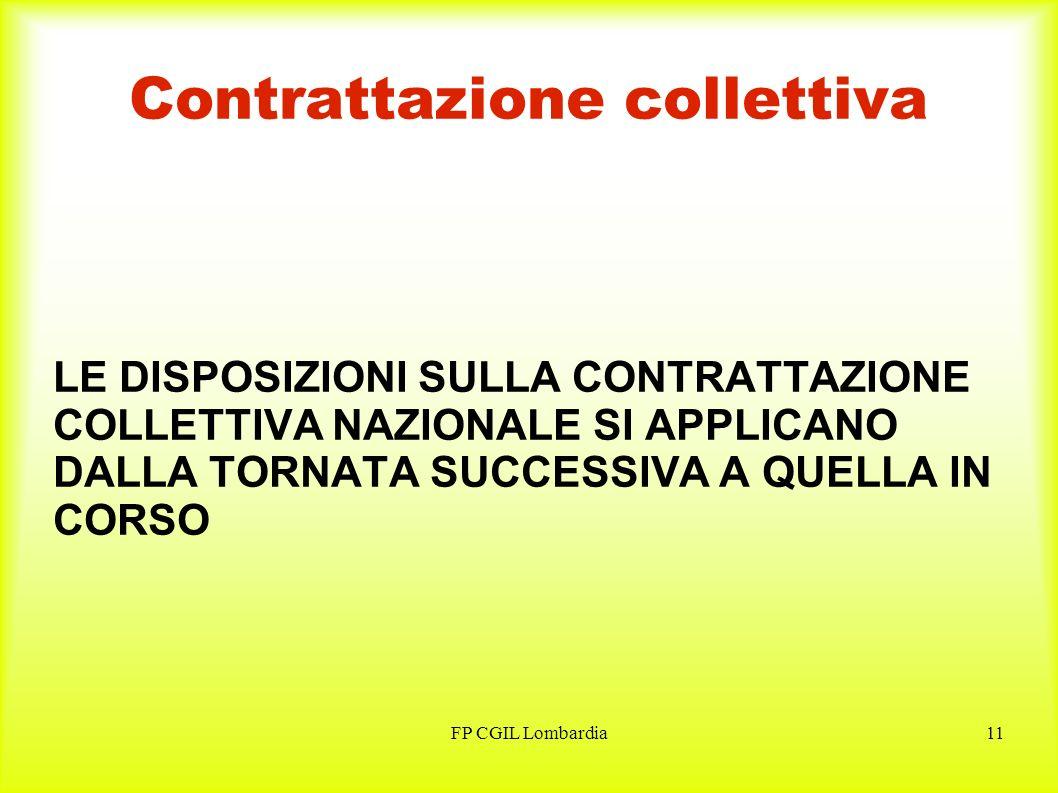 FP CGIL Lombardia11 Contrattazione collettiva LE DISPOSIZIONI SULLA CONTRATTAZIONE COLLETTIVA NAZIONALE SI APPLICANO DALLA TORNATA SUCCESSIVA A QUELLA IN CORSO