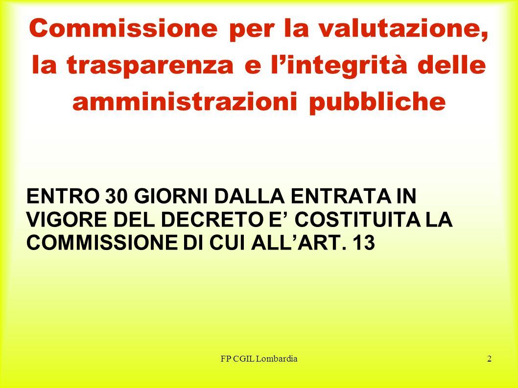 FP CGIL Lombardia3 Organismi indipendenti di valutazione GLI ORGANISMI INDIPENDENTI DI CUI ALLART.