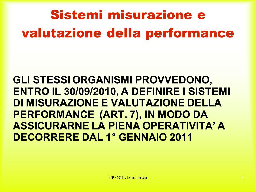 FP CGIL Lombardia4 Sistemi misurazione e valutazione della performance GLI STESSI ORGANISMI PROVVEDONO, ENTRO IL 30/09/2010, A DEFINIRE I SISTEMI DI MISURAZIONE E VALUTAZIONE DELLA PERFORMANCE (ART.