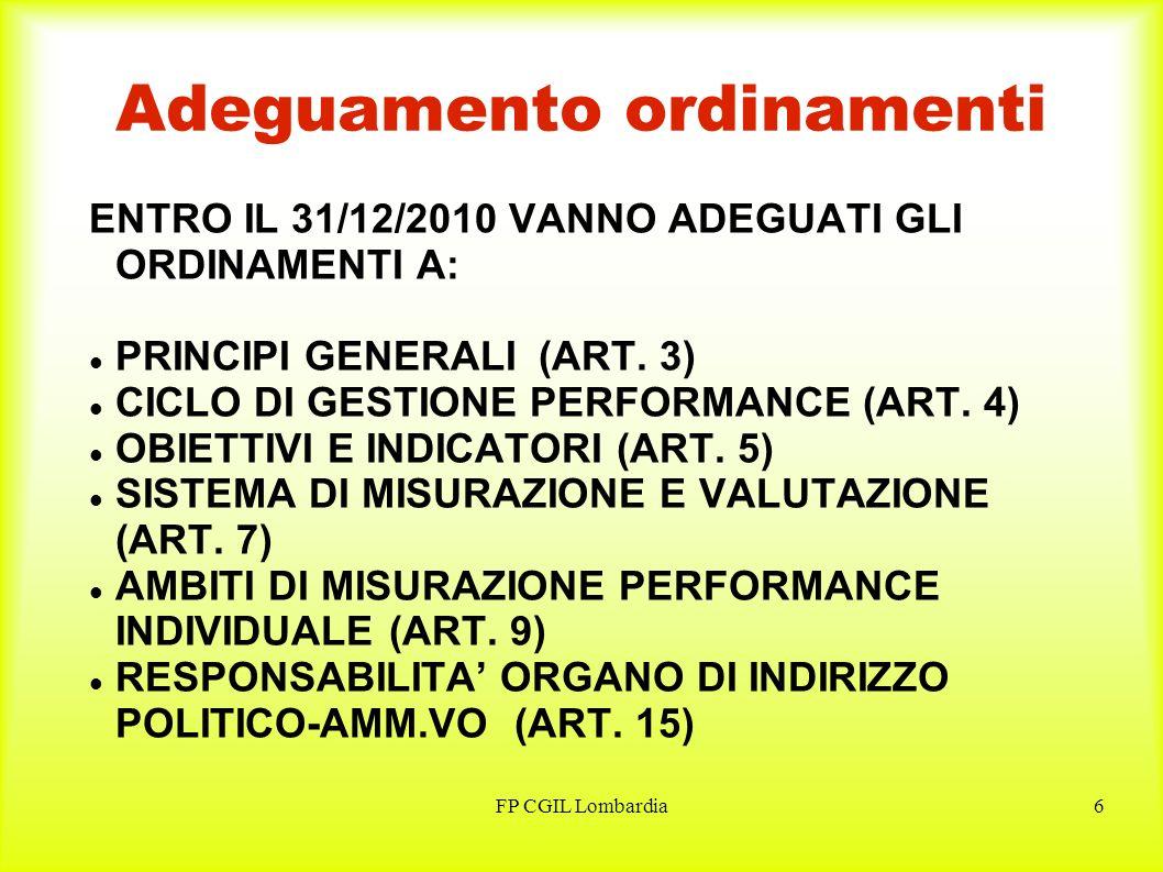 FP CGIL Lombardia7 Adeguamento ordinamenti (segue dalla precedente) ENTRO IL 31/12/2010 VANNO ADEGUATI GLI ORDINAMENTI A: OGGETTO E FINALITA DEL TITOLO III – MERITO E PREMI (ART.