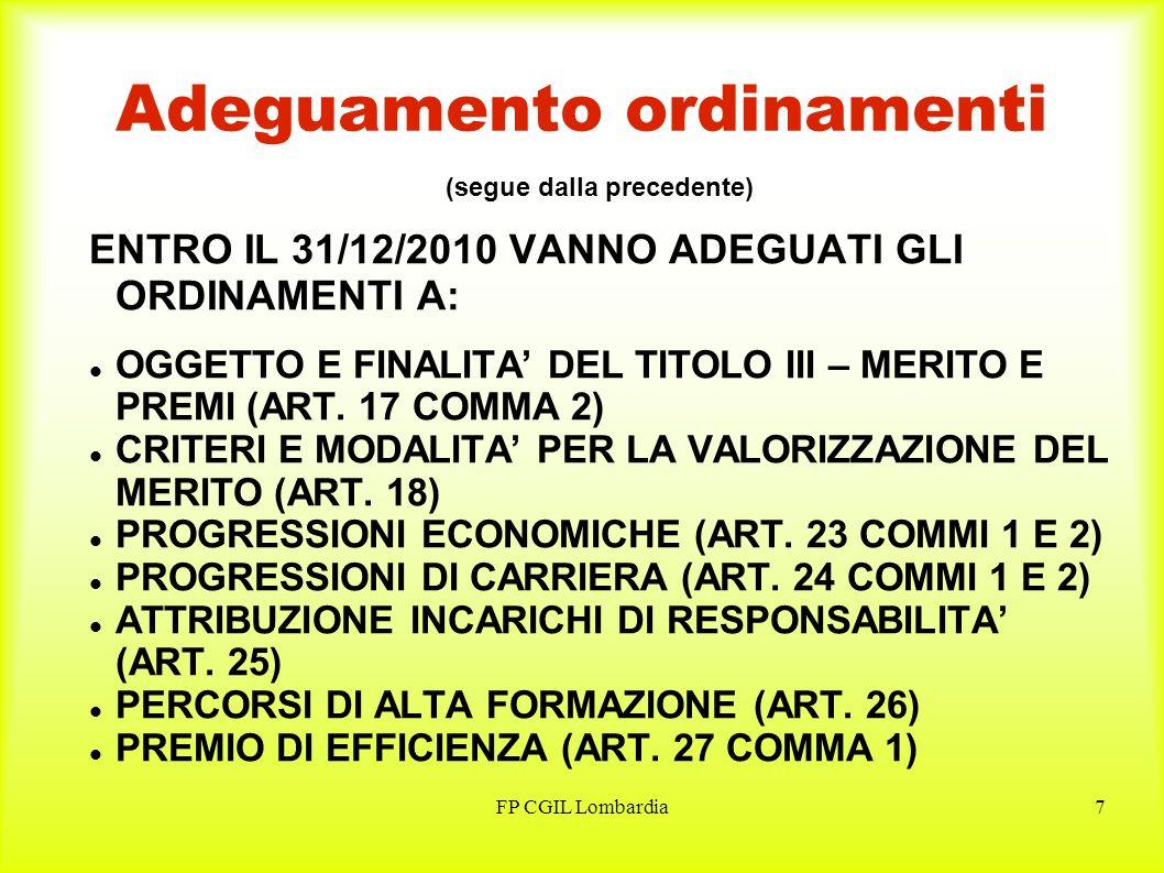 FP CGIL Lombardia8 Performance, obiettivi e indicatori PER LA REALIZZAZIONE DELLE ATTIVITA DI CUI AGLI ART.T.